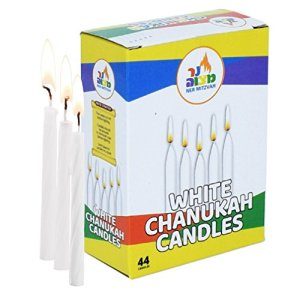 Ner Mitzvah 44 Bougies pour Hanoucca, Blanches, 10cm