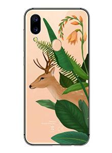 Oihxse Mode Transparent Silicone Case Compatible pour Xiaomi Mi Max 3 Coque, Ultra Mince Souple TPU Mignon Animal Série Protection de Housse Anti-Scrach Bumper Etui -Cerf