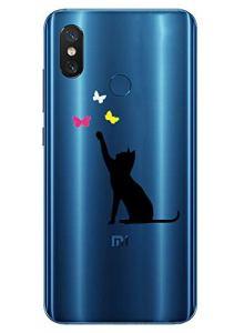 Oihxse Mode Transparent Silicone Case Compatible pour Xiaomi Redmi 4A Coque, Ultra Mince Souple TPU Mignon Animal Série Protection de Housse Anti-Scrach Bumper Etui -Chat