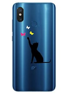 Oihxse Mode Transparent Silicone Case Compatible pour Xiaomi Redmi S2 Coque, Ultra Mince Souple TPU Mignon Animal Série Protection de Housse Anti-Scrach Bumper Etui -Chat