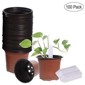 OUNONA Lot de 100 pots de semis en plastique pots de fleurs pots de plantes plastique Avec étiquettes plantes