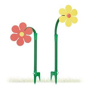 Relaxdays Fleur arroseuse lot de 2 arroseur jardin tuyau arrosage 6 mètres 360°C HxlxP: 105 x 28 x 28 cm, rouge/jaune