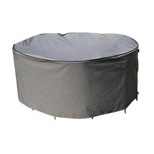 SORARA Housse de Protection imperméable pour Table Ronde | Gris | Ø 203 x 90 cm