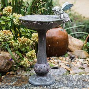 Statues pour Jardin Fée Cour Romaine Colonne Bassin Jardin Sculptures d'oiseaux Bain Pot Ornements Décoratifs 56 * 30 * 85cm