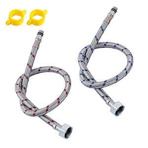 SYXZ 1 Paire en Acier Inoxydable tuyaux de plomberie Flexibles Froid Robinet Chaud Tuyau d'alimentation en Eau tuyaux Salle de Bains Partie,100cm