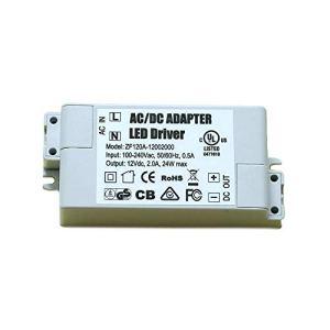 Transformateur à LED Alimentation à LED – 24W, 12V DC, 2A – Tension constante pour les bandes lumineuses LED et ampoules à LED G4, MR11, MR16