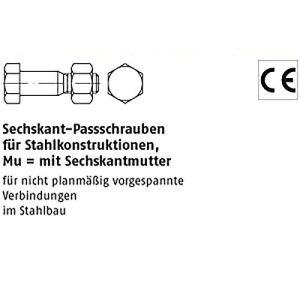 Vis à tête hexagonale DIN 7968 Mu 5.6 / CE M 12 x 50 galv. Zn VE=S Lot de 100 équerres galvanisées
