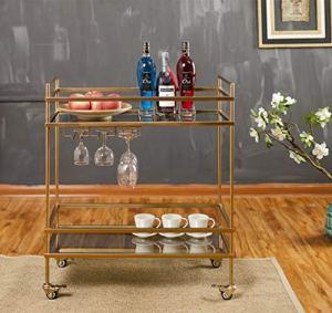 WILL Verre de Fer Desservant Chambre à Coucher à roulettes Or Double Mini casier à vin Stockage Vintage café Restaurant 72 × 36 × 82 cm