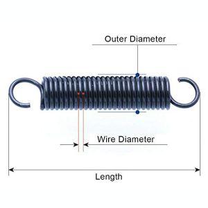 W-NUANJUN-SPRING, 5pcs ressort de traction avec des crochets fil Diamètre 1 mm Diamètre extérieur petite extension en acier à ressort 6 mm Longueur 20-60mm (Taille : 1 x 6 x 25mm)