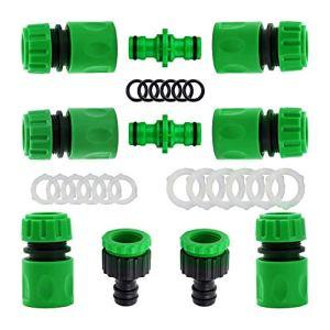 YAAVAAW Lot de 10 Plastique connecteurs Rapides pour Tuyau d'arrosage (6 Hose Quick Connector,2 Double connecteur,2 Threaded Faucet Adapter) pour raccord de Robinet 1/2″(21mm) et 3/4″(26,5mm)