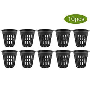 10 pcs Net Pots En Plastique Panier Tasse Robuste Filtre Usine Filet pour Hydroponique Jardin Conteneurs(Noir)