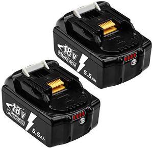 2X Hochstern BL1860B 5500mAh batterie Remplacement pour Makita 18V Lithium Compatible avec BL1850B BL1850 BL1860 BL1840B BL1840 BL1830B BL1815B LXT-400 avec indicateur LED