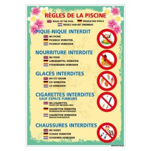 Adhésif – des Règles De La Piscine – Dimensions 300 x 420 mm – Protection Anti-UV