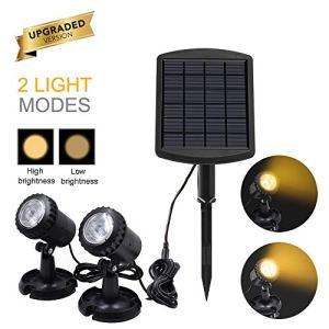 ALLOMN 2pcs lumière solaire submersible à LED, projecteurs solaires étanches IP68, éclairage solaire terrestre/sous-marin réglable, pour extérieur, piscine, jardin – blanc chaud