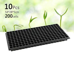 Auforua Lot de 10 boîtes de 200 cellules Seeding Trays pour plantes et plantes aromatiques 54 x 28 x 5 cm