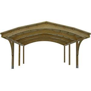 Carport en Bois a 2 Places – Couverture en Bardeaux Bitumineux Noir ou Verts. Dimensions: 607cmx 616 cm, hauteur: 340cm