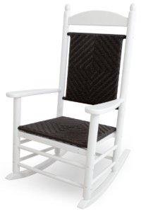 CASA BRUNO Jefferson, fauteuil à bascule, avec le siège et le dos tressée, polyéthylène PEHD, blanc – résistance inconditionnelle aux intempéries