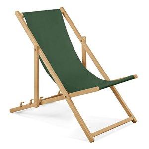 Chaise longue de jardin en bois – Fauteuil Relax – Chaise de plage vert