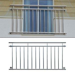 ECD Germany Balcon Français avec Barres Transversales Balcon en Acier Inoxydable 156x90cm