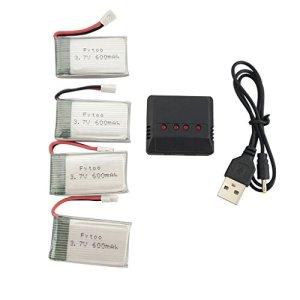 Fytoo 4PCS 3.7V 600mAh Batteries de Lithium + 1PCS 4en1 Chargeur pour E32HW MJX X708 X708W X709 UDI U45 U45W U42 U42W SYMA X5C X5SW X5SC S5 S5C S5W SS40 FQ36 T32 T5W H42 Drone RC Quadcopter