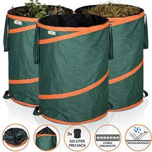 GARDEBRUK – 3x Sac de déchets de jardin 165L max. 30kg par sac tissu renforcé hydrofuge ordures bac