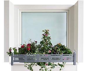 GREEN CREATIONS Porte-fleurs masu set de base s'adapte sur tout rebord de fenêtre de 78 cm à 140 cm sans perçage, sans endommager la façade (set de base : Modern, gris signal)