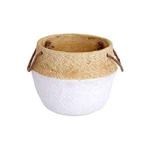 Heart of the home Cache-Pot Design Panier tressé Naturel – Diam. 21 cm – Blanc