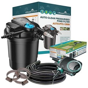 Kit de filtration pour bassin koi avec filtre sous pression auto-nettoyant et stérilisateur UV AUTO-PFC-12000 Kit