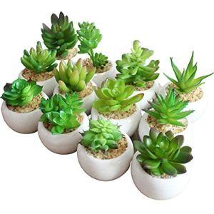 KUOZEN Plantes Artificielles Plante Grasse Décorations Grave Maison Plantes en Pot Plantes D'extérieur Faux Plantes en Pots Table Décoration Random,4pcs