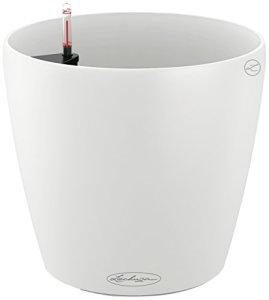 Lechuza Color Classico 21 «, blanc lisse, Jardinière ronde traditionnelle, arrosage automatique, 21×20 cm