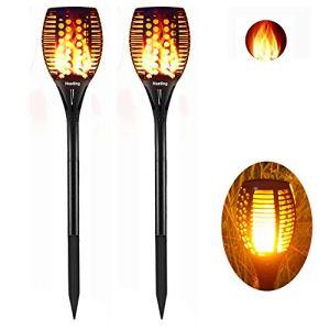 Nestling® Solaire Flammes Lampes, lampe à La danse flamme 96 LED, lampe de paysage extérieur étanche IP65, pour Décoration D'ambiance Jardin/Terrasse/Piscine – 2 packs