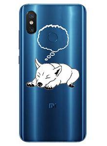 Oihxse Mode Transparent Silicone Case Compatible pour Xiaomi Redmi Note 8 Pro Coque, Ultra Mince Souple TPU Mignon Animal Série Protection de Housse Anti-Scrach Bumper Etui -Chien