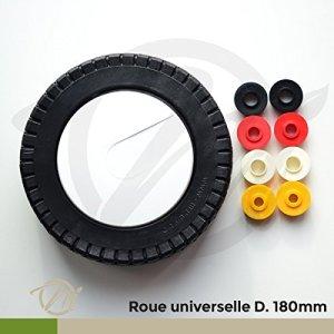 Roue de tondeuse universelle avec bagues Ø 180 mm