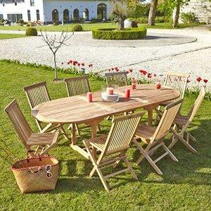 Salon de jardin en TECK BRUT QUALITE GRADE A 8/10 pers – Table ovale 180/240cm + 8 chaises