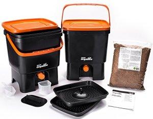Skaza – mind your eco Bokashi Organico Composteur de Cuisine, Noir/Orange