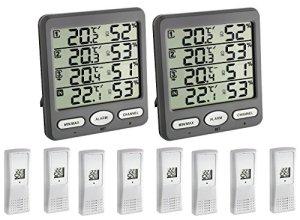 TFA Dostmann de Climat Moniteur écran Mega TFA 30.3054.10. MEGA 2 + 8 Émetteur radio Température Humidité de l'air Station, gris