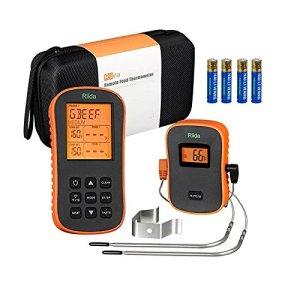 Thermomètre sans fil pour viande riida TM08, cuisine à distance, thermomètre numérique pour barbecue avec deux sondes pour fours, grilles, barbecue, thermomètre de cuisine à télécommande (300 pieds)