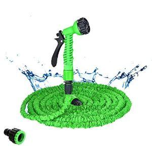 Tuyaux d'arrosage 25-200 FT Hot Extensible Magic Garden Flexible Tuyau d'eau for Voiture tuyaux Souples en Plastique de Jardin Set for avec Pistolet (Color : Green, Lengh : 25ft)