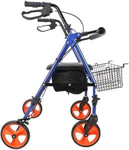 Walker pliage léger Mobilité Aides à la marche pliable, promenade Walker déambulateur avec siège, 4 Roues Médical roulant Walker Double système de freinage, utilisé for les personnes âgées marche Sièg