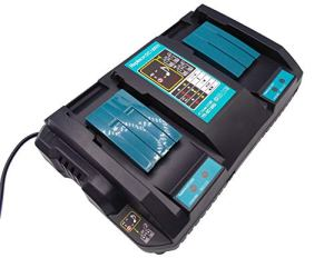 Yasi Mfg® Chargeur double rapide à deux voies, Chargeur de rechange pour Makita DC18RD, 196933-6, 4A avec 2 ports USB