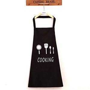 YGSAT Unisexe Chefs Cuisine Tablier Étanche avec Poches Tabliers pour la Cuisine Restaurant Travail BBQ Jardinage Artisanat Cuisson Noir