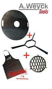 A. Weyck Tools Kit complet de plaque de feu 100 cm + entretoises + grille de barbecue