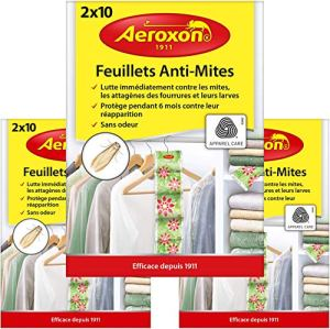 Aeroxon – Papiers Anti-Mites Textiles – 3×20 pièces – Contre Les Mites, Les coléoptères et Les Larves – Protection Anti-Mites pour Vos vêtements dans dans l'armoire