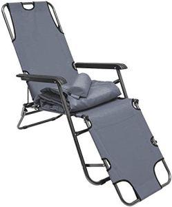 Chaises pliantes chaises inclinables de soleil, le soleil peut se déplacer avec 178 cm intérieur, le repose-jambes dossier inclinable, repose-tête,Grey