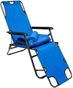 Chaises pliantes chaises soleil balancelle avec 178 cm intérieurs mobiles, le repose-jambes dossier inclinable, repose-tête,Blue