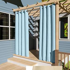 Clothink Rideaux d'extérieur coupe-vent coupe-vent et protection contre le soleil Protection contre les UV Gris/blanc Pendentif. B:132xH:305cm bleu clair