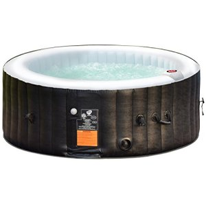 Costway Spa Gonflable Rond pour 4 Places 800L Gonflage Automatique Chauffage,Massage à Bulles,Système de Purification de l'Eau 180 x 180 x 65 cm (Modèle A)