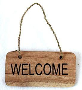 dekoundmeer Welcome Panneau en bois à suspendre fait à la main 10 x 5 cm