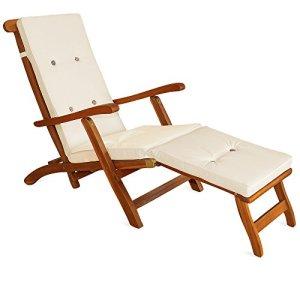 Detex Coussin pour chaise longue 173 cm – Matelas Transat Bain de soleil Jardin CRÈME