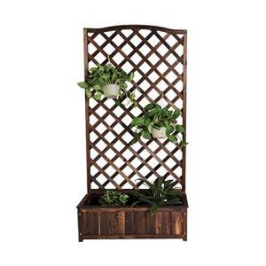 HEMFV Bois Planteur autoportant Plante Raised Lit avec Trellis for Le Jardin ou Cour